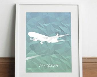 Boeing 777-300ER Aircraft - Art print