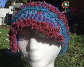 Mixed yarn retro sloutchy newsboy crochet hat