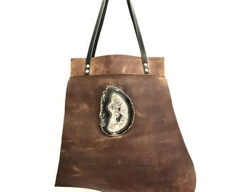 Brown Leather Handbag, Leather Tote, Brown Leather Tote