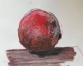 Small still life.  Postcard size.  Sketch.  Pomegranate.