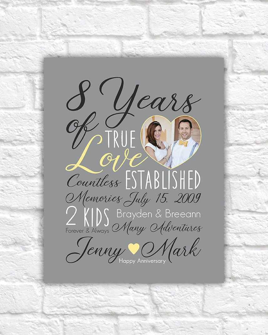 Wedding Anniversary Gift Choose Any Year 8th Anniversary 8 Years
