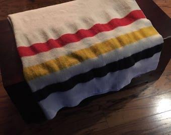Vintage Faribo Wool Blanket Revival with Three Bold Stripes/Faribault Woolen Mill Co./ Full size Blanket/