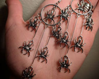 Dramatic Spider Spiderweb Dripping Dropping Dangle Chandelier Earrings With Surgical Stainless Steel Ear Hooks