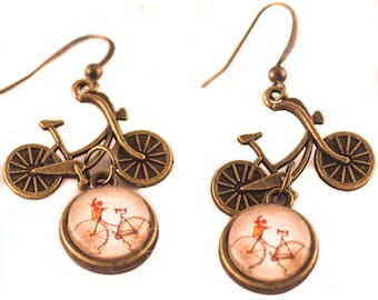 BIKE Earrings, Bicycle Earrings, Bike Lover Gift, Bicycle Jewelry, Glass Cameo Earrings, Charm Earrings, Gift For Her, BICYCLE, Bike, Dangle
