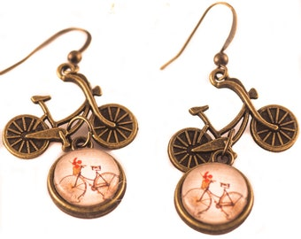 BIKE Earrings Bicycle Earrings Bike Lover Gift Bicycle Jewelry Glass Cameo Earrings Charm Earrings Gift For Her Dangle Vintage Bike Earrings