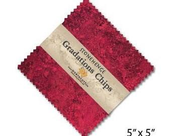 Northcott Gradation Chips 5 x 5 charm pack - Hibiscus