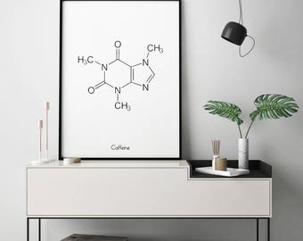 Coffee Gift, Caffeine Molecule Print, Coffee Print, Coffee Poster, Coffee Wall Art, Coffee Wall Print, Coffee Lovers Gift