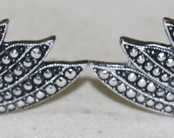 Vintage Faux Marcasite Metal Eloxal Clip on Earrings