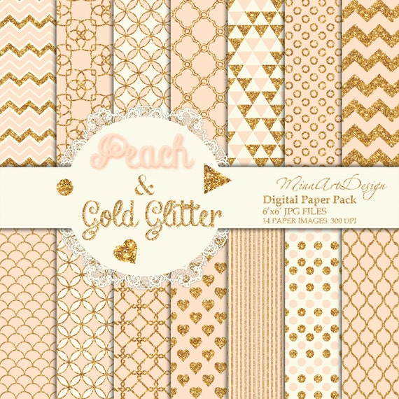 Gold Peach Digital Paper Pack Seamless Patterns Printable Planner Backgrounds Pastel Glitter Chevron Polkadot Circle Stripe Instant Download From