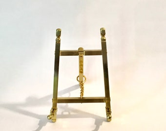 Vintage Small Brass Folding Easel Artwork Stand