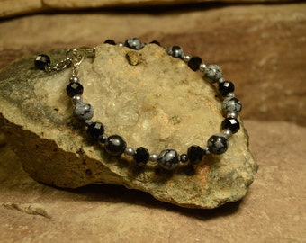 Snowflake Obsidian Bracelet Handmade Jewelry Gifts for Her from The Hidden Meadow