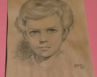 Original Charcoal Child Portrait
