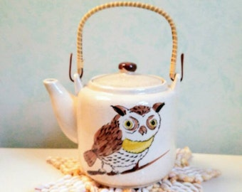 Japan Owl Teapot Owl Stoneware Teapot Rattan Wrap Handle Vintage Ceramic Teapot 1960s Drinkware Retro Kitchenware Country Cabin Home Living