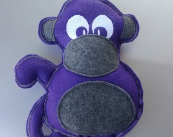 Purple Monkey Dog Squeak Toy- Embroidered