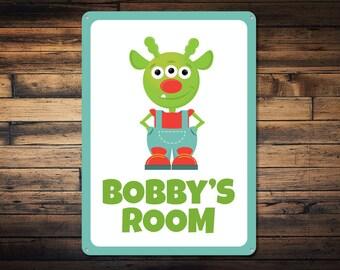 Alien Sign, Kid Room Sign, Custom Kid Room Sign, Kid Room Decor, Custom Child Name Sign, Alien Lover Sign - Quality Aluminum ENS1000200