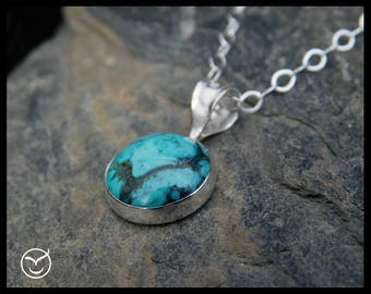 Kingman turquoise pendant necklace, sterling silver (0.925), 10mm. 243