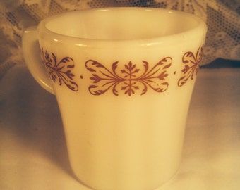 Vintage Pyrex white and brown coffee cup
