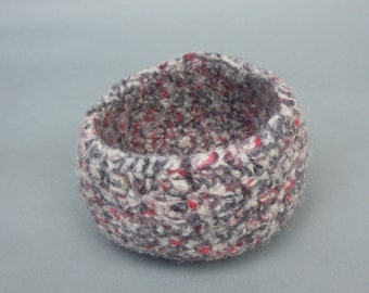 Black Red and White Wool Felted Bowl Small