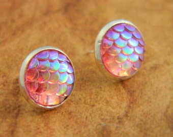 Pink Mermaid Earrings, Dragon Earrings, Mermaid Scales, Dragon Scales, Stud Earrings, Mermaid Jewelry, Dragon, Pink Earrings, Mermaid Tail