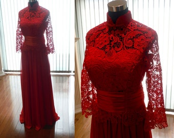 Chinese wedding dress, red cheongsam dress, red lace dress, red qipao dress