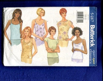 Butterick 5487 Tanks Tees & Camisole Tops Size 6..8..10