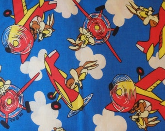 Calamity Coyote - Vintage 1994 Warner Brothers Tiny Toons - Wyle E. Coyote Airplane Fabric, by the half yard