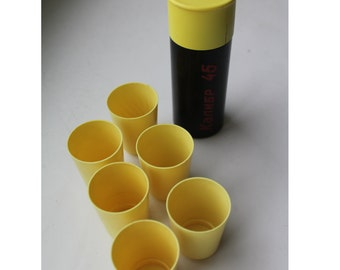 """Soviet folding set of 6 cups. Set of 6 cups. Set of 6 small cups for travel """"45 caliber"""". cup. cups for travel."""