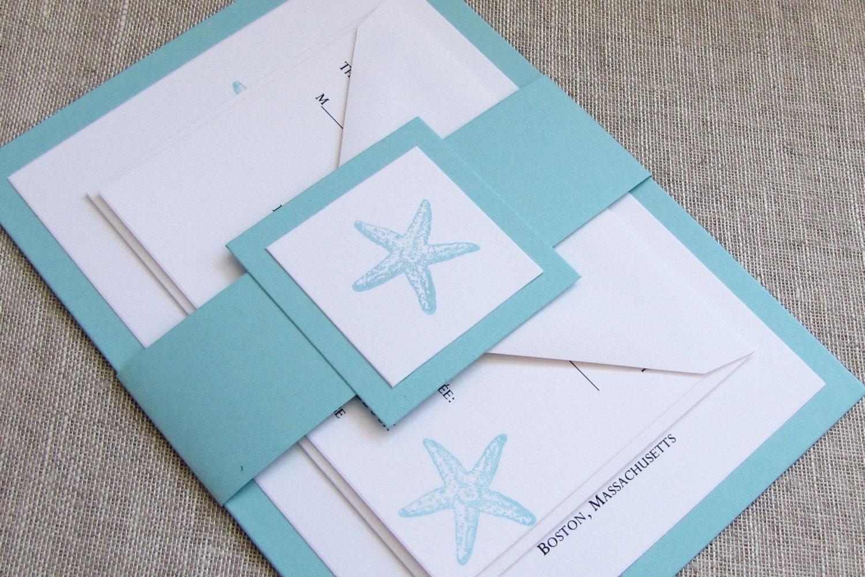 Turquoise Starfish Wedding Invitations Beach Wedding Invites