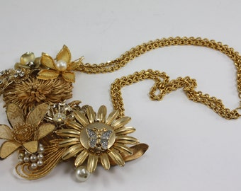Vintage Gold Flowers Metal Pearls Rhinestone Assemblage Statement Bib Necklace Handcrafted OOAK