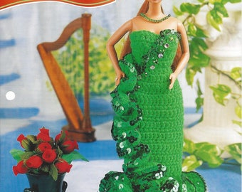 Emerald Party Gown Crochet Fashion Doll Pattern, Doll Dress, Fashion Doll Gown, Doll Clothes, Headpiece, Annie's Fashion Doll Crochet Club
