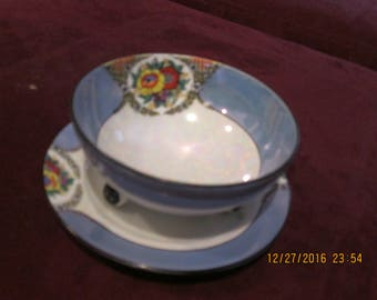 Mayonnaise set two pieces in blue and white, Noritake, hand painted 1930's