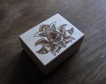 Woodburned box - LOTUS FLOWER