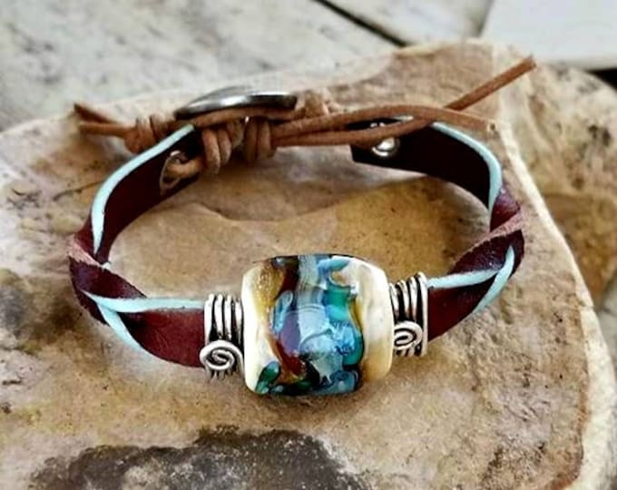 Twisted West Leather Memorial Bracelet, Ashes in Glass,Pet Memorial, Cremation Jewelry