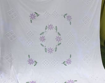 Vintage White and Purple Floral Summer Weight Chenille Bedspread