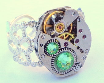 Steampunk Ring, Silver Tone, Vintage Ruby Jeweled Watch Movement, Swarovski Crystals, Peridot, Adjustable Size, Steam Punk Goth