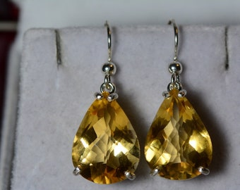 Citrine Earrings, Certified 18.73 Carat Dangles Appraised 925.00 Sterling Silver, Real Genuine Natural Jewelry, Pear Cut November Birthstone
