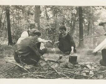 vintage photo campfire