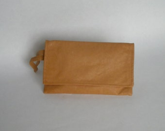 Clutch Bag in Natural Leather / Purse Bag in Tan Leather for Women with Wristlet