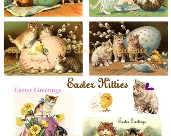 Easter Kitties...Kittens...Cats...Digital Collage Sheet