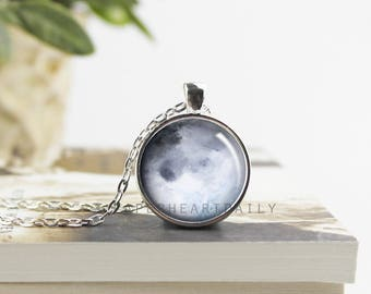Blue Moon Necklace - Moon Pendant - Moon Phase Necklace - Moon Jewelry - Full Moon Pendant - Moon Gift - Watercolor Moon -  (B6664)