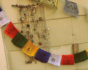 "Tibetan Prayer Flags // 4.75' length // Flag Measures 4.5"" x 4.3"" each // 10 Prayer Flags // Made in Nepal // Spiritual Decor"