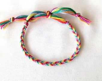 Fancy Rainbow fishtail bracelet woven bracelet hippie rainbow multicolor tie Brasilda
