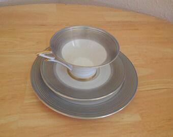 German FELDA RHON TEASET Gray Gold Blue Tea Set Cup and Saucer