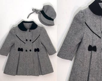 Vintage 1970s Childrens Wool Coat // 70s Kids Coat Set with Bonnet // Matching Hat // Grey Winter Coat 4T // Girls Gray Wool & Velvet Bows