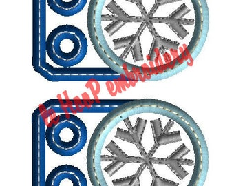 Snowflake Shoe Charms Machine Embroidery In-Hoop Design 4x4 5x7 6x10 TAGS ITH Costume FROZEN Movie Inspired Magic Kingdom snow ice wings