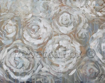 Large Abstract Art Print,  Roses Abstract Canvas Art, Modern Art, Wall Decor, 24x36, Neutral Painting