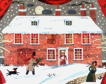 Jane Austen Christmas Card, Traditional Snow Scene, Cat, Dog, Writers' Houses, Naive Art, Chawton Cottage, Holiday Card, Amanda White Design