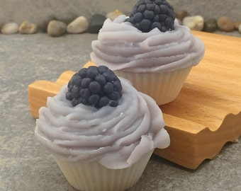 Set of 2 Mini Sparkling Blackberry Scented Bakery Cupcake Soap  - Cold Process
