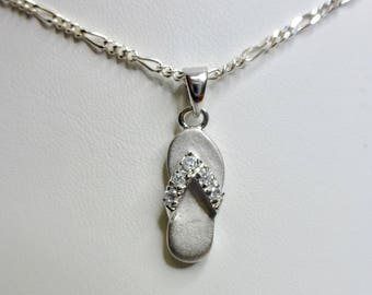 Sterling Silver Slipper/ Flipflop Pendant With Cubic Zirconia! Made in Hawaii!