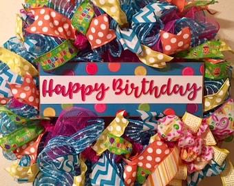 Happy Birthday Wreath, deco mesh wreath, Happy Birthday deco mesh wreath, Birthday wreath, Birthday deco mesh wreath